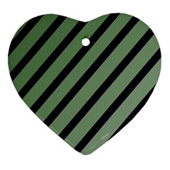 Green Elegant Lines Heart Ornament (2 Sides) by Valentinaart