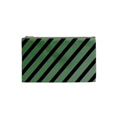 Green Elegant Lines Cosmetic Bag (small)  by Valentinaart