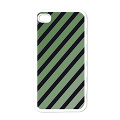 Green Elegant Lines Apple Iphone 4 Case (white) by Valentinaart