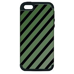 Green Elegant Lines Apple Iphone 5 Hardshell Case (pc+silicone) by Valentinaart