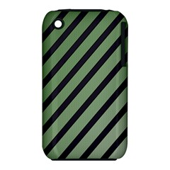 Green Elegant Lines Apple Iphone 3g/3gs Hardshell Case (pc+silicone) by Valentinaart