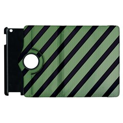Green Elegant Lines Apple Ipad 2 Flip 360 Case by Valentinaart
