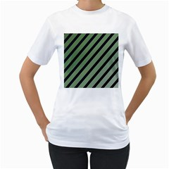 Green Elegant Lines Women s T Shirt (white)  by Valentinaart