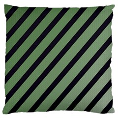 Green Elegant Lines Large Flano Cushion Case (one Side) by Valentinaart