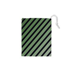Green Elegant Lines Drawstring Pouches (xs)  by Valentinaart