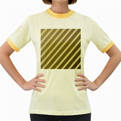 Golden Elegant Lines Women s Fitted Ringer T Shirts by Valentinaart