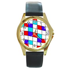 Colorful Cubes  Round Gold Metal Watch