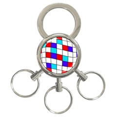Colorful Cubes  3 Ring Key Chains