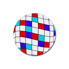 Colorful Cubes  Rubber Round Coaster (4 Pack)