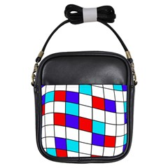 Colorful Cubes  Girls Sling Bags by Valentinaart