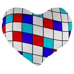 Colorful Cubes  Large 19  Premium Flano Heart Shape Cushions by Valentinaart