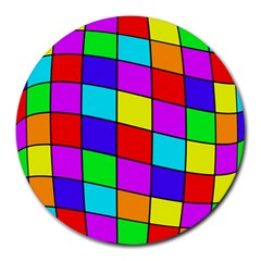 Colorful Cubes Round Mousepads by Valentinaart