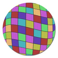 Colorful Cubes  Magnet 5  (round) by Valentinaart