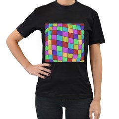 Colorful Cubes  Women s T-shirt (black) (two Sided) by Valentinaart