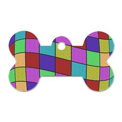 Colorful Cubes  Dog Tag Bone (two Sides) by Valentinaart