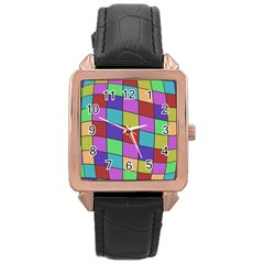Colorful Cubes  Rose Gold Leather Watch  by Valentinaart