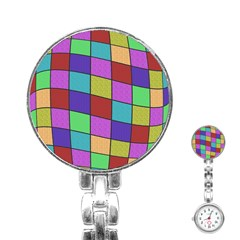 Colorful Cubes  Stainless Steel Nurses Watch by Valentinaart