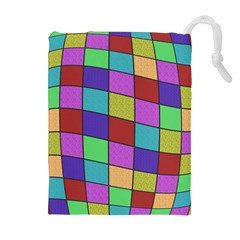 Colorful Cubes  Drawstring Pouches (extra Large) by Valentinaart