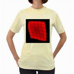 Red Abstraction Women s Yellow T Shirt by Valentinaart