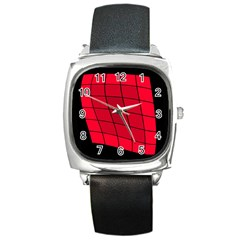 Red Abstraction Square Metal Watch by Valentinaart