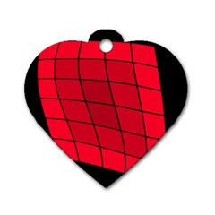 Red Abstraction Dog Tag Heart (two Sides) by Valentinaart