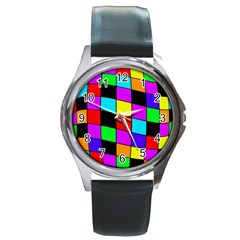 Colorful Cubes  Round Metal Watch