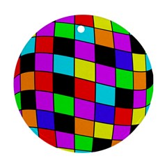 Colorful Cubes  Ornament (round)  by Valentinaart