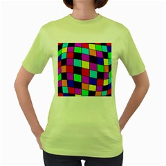 Colorful Cubes  Women s Green T Shirt