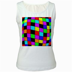Colorful Cubes  Women s White Tank Top