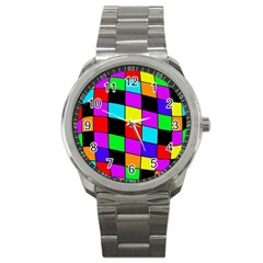 Colorful Cubes  Sport Metal Watch by Valentinaart