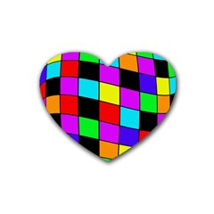 Colorful Cubes  Rubber Coaster (heart)  by Valentinaart
