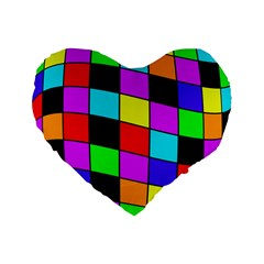 Colorful Cubes  Standard 16  Premium Flano Heart Shape Cushions by Valentinaart