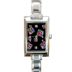 Flying  Colorful Cubes Rectangle Italian Charm Watch by Valentinaart