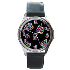 Flying  Colorful Cubes Round Metal Watch by Valentinaart