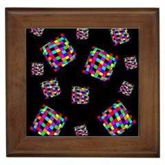 Flying  Colorful Cubes Framed Tiles by Valentinaart