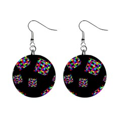 Flying  Colorful Cubes Mini Button Earrings