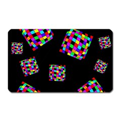 Flying  Colorful Cubes Magnet (rectangular) by Valentinaart