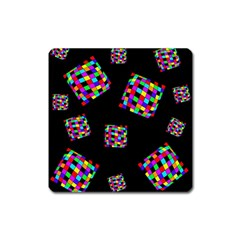 Flying  Colorful Cubes Square Magnet by Valentinaart
