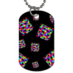 Flying  Colorful Cubes Dog Tag (two Sides) by Valentinaart