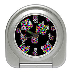 Flying  Colorful Cubes Travel Alarm Clocks by Valentinaart