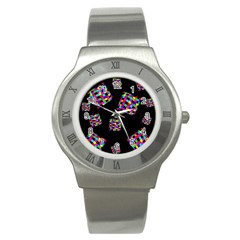 Flying  Colorful Cubes Stainless Steel Watch by Valentinaart