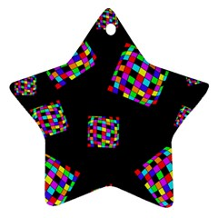Flying  Colorful Cubes Star Ornament (two Sides)  by Valentinaart