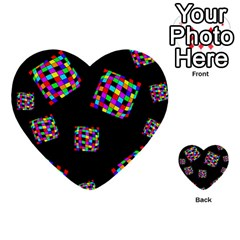 Flying  Colorful Cubes Multi-purpose Cards (heart)  by Valentinaart