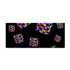 Flying  Colorful Cubes Hand Towel by Valentinaart