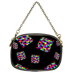 Flying  Colorful Cubes Chain Purses (one Side)  by Valentinaart