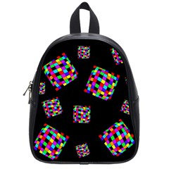 Flying  Colorful Cubes School Bags (small)  by Valentinaart