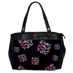 Flying  Colorful Cubes Office Handbags by Valentinaart