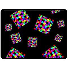 Flying  Colorful Cubes Fleece Blanket (large)  by Valentinaart