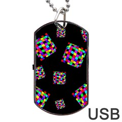 Flying  Colorful Cubes Dog Tag Usb Flash (two Sides)  by Valentinaart
