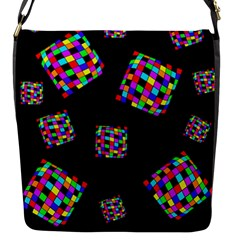 Flying  Colorful Cubes Flap Messenger Bag (s) by Valentinaart